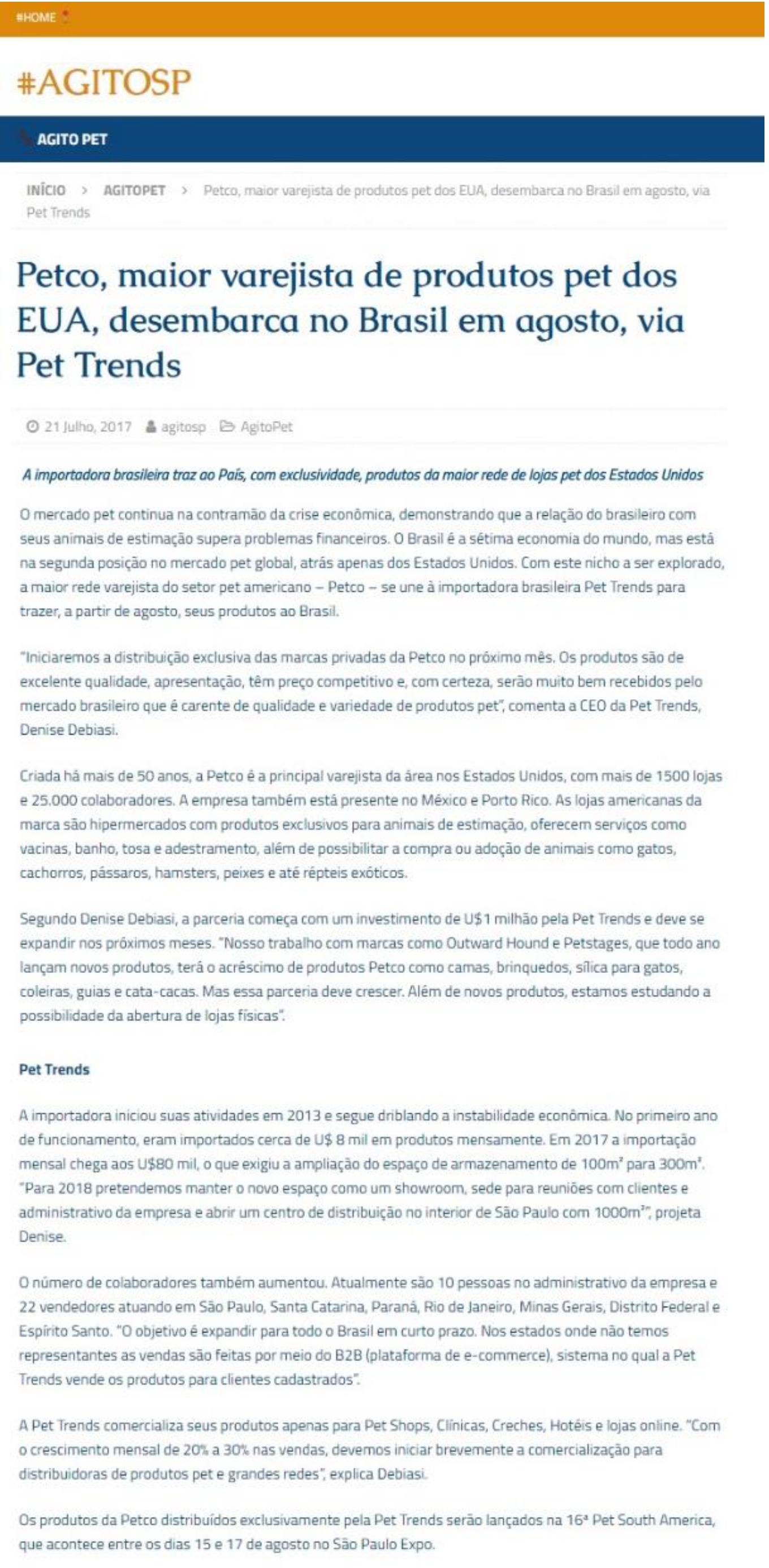 Saiu no AgitoSP matéria sobre parceria com a Petco