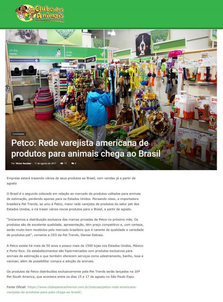 Blog Clube dos Animais falou sobre a nossa parceria com a Petco