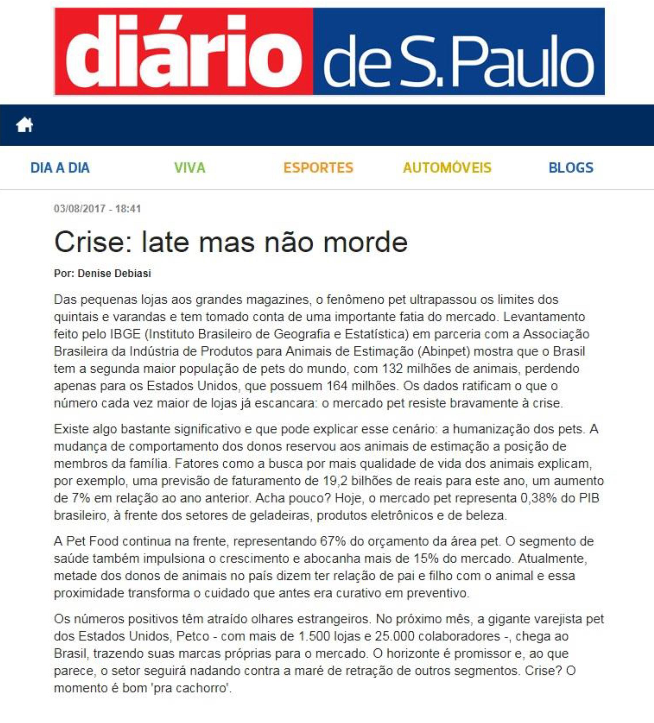 Matéria sobre Pet Trends no Diario de São Paulo
