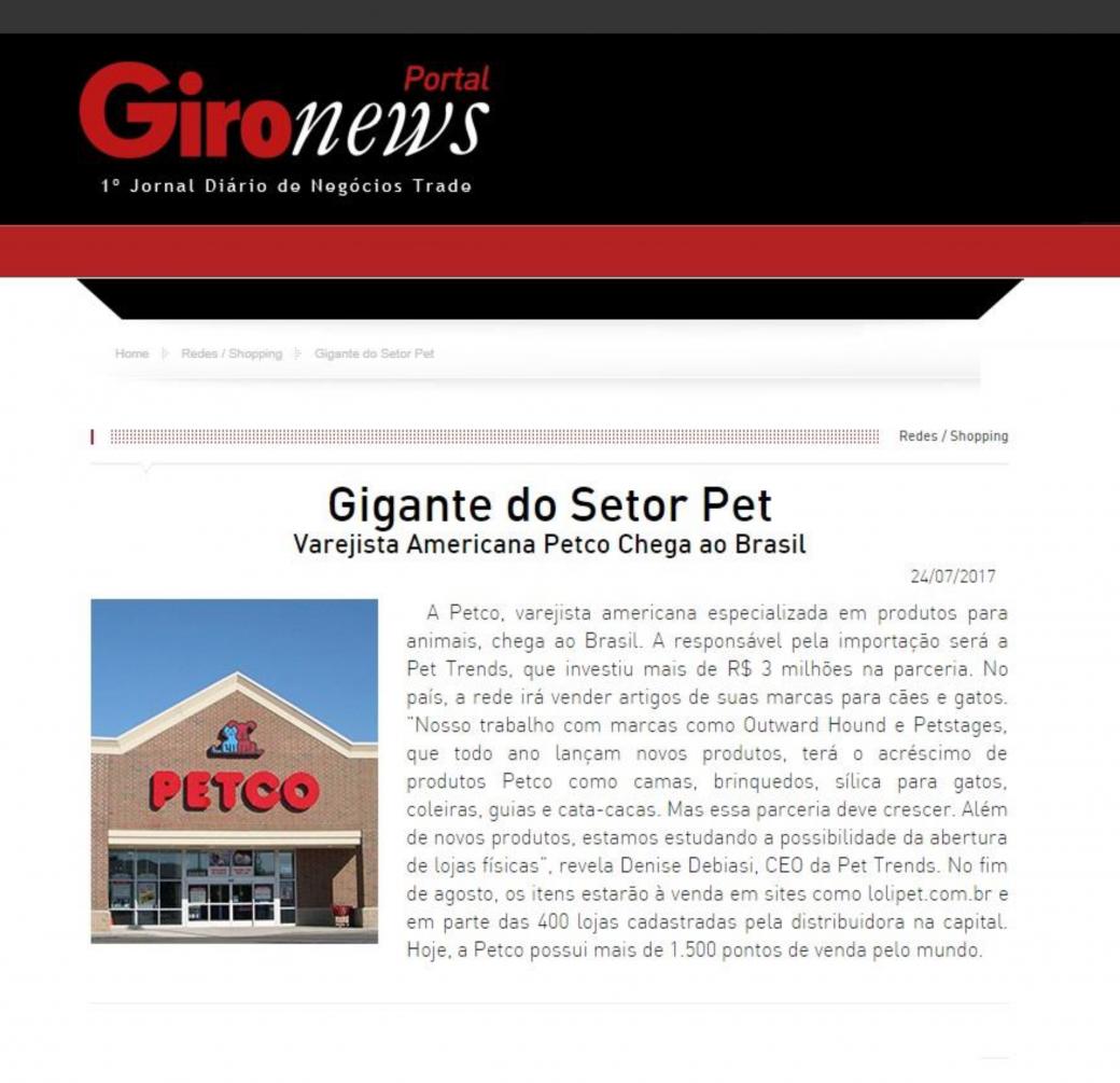 Saiu no GiroNews sobre a parceria da Pet Trends com a Petco