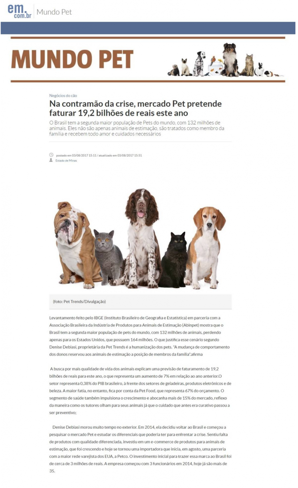 Estado de Minas fala sobre o Mercado Pet