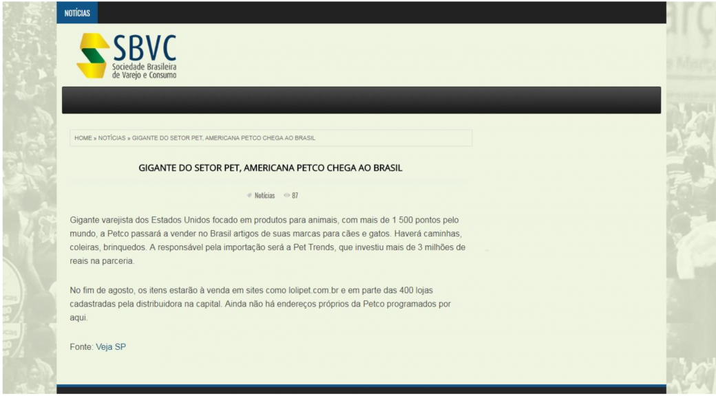 SBVC fala sobre chegada da Petco ao Brasil