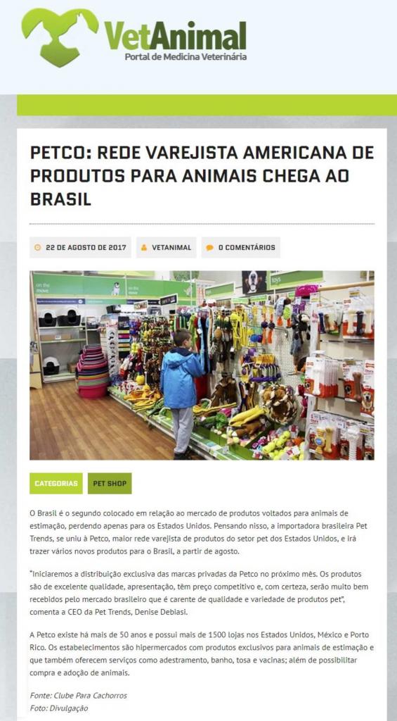 Portal de medicina Veterinária fala sobre a parceria entre Pet Trends e a varejista americana, Petco.