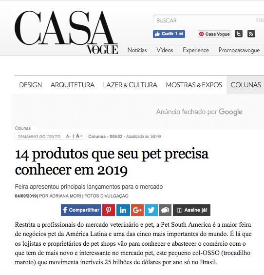 Matéria sobre produto PET TRENDS no site da CASA VOGUE