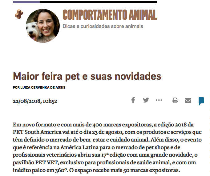 MATERIA SOBRE PET SOUTH AMERICA 2018 NO ESTADÃO - CLINICAL PADS