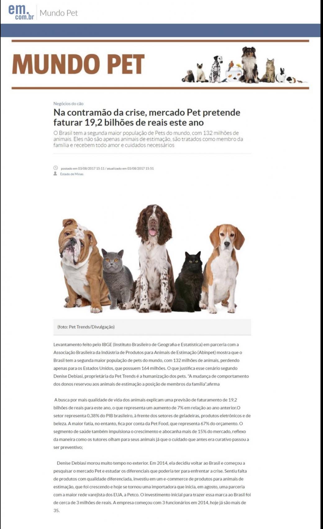 Estado de Minas fala sobre o Mercado Pet