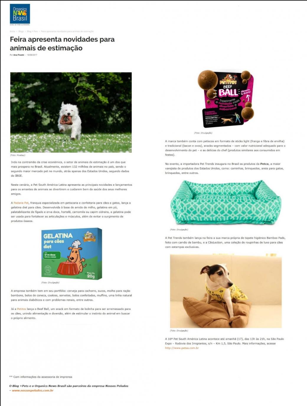 Organic News destaca produtos Pet Trends