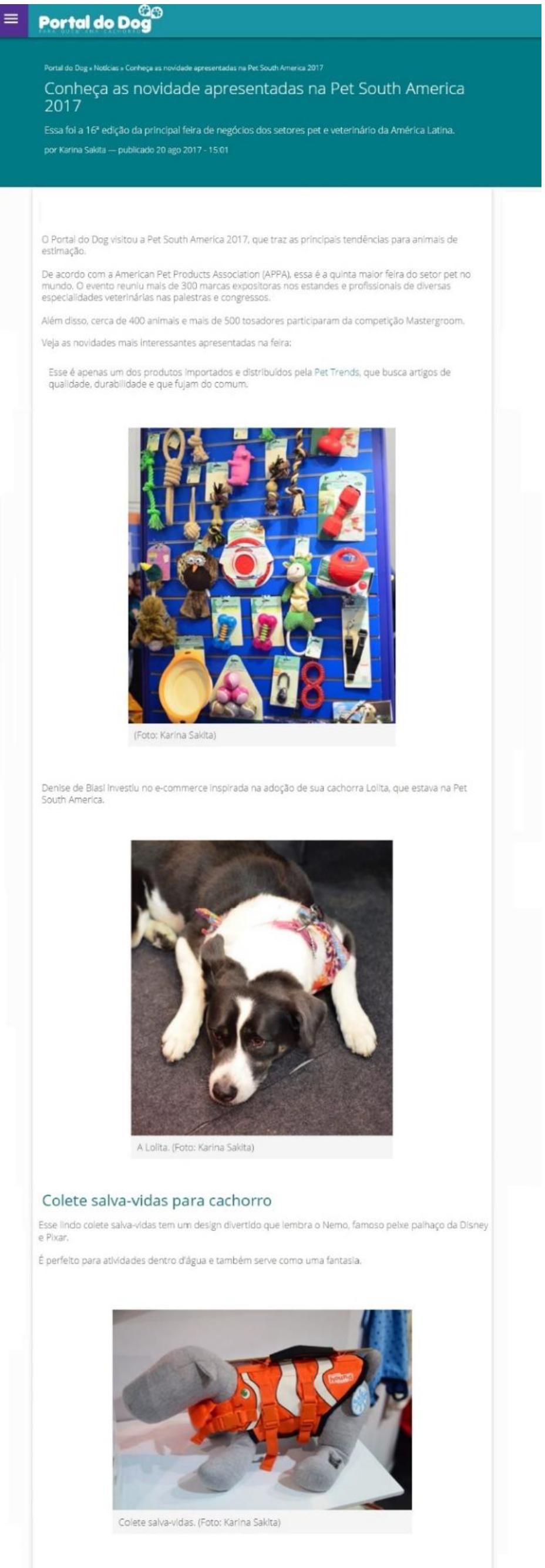 Portal do Dog visita Pet South America e destaca lançamentos Pet Trends