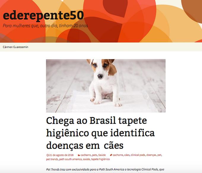 Matéria sobre lançamentos Pet Trends no Blog derepente50